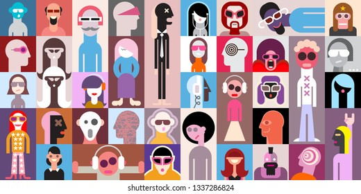 Large vector pop art design of different people portraits. Can be used as seamless background.