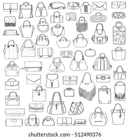 Large vector set of black and white doddle fashion bags, hand drawn with black ink, isolated on white background. Illustration with group of various handbag, purse, pouch, satchel, clutch, bag.