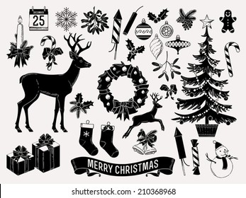 Large vector set of christmas themed items black on milk white silhouettes such as mistletoe, snow man, jingle bells, wreath, deer, candle, noel tree and more