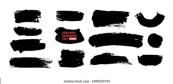 Large vector set hand drawn illustration. Ink brush stroke texture background, dry rough edges.  Grunge collection for quote boxes. Template for backgrounds, card design, frames, banners.