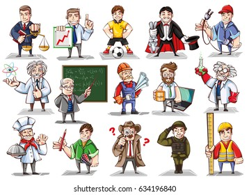 A large vector set of illustrations of different professions. Cartoon image of the character of the cook, chemist, detective, scientist, teacher.