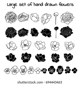 a large vector set of silhouettes of hand drawn peony, magnolia and violet flowers isolated on white background ,for wedding invitations and greeting cards