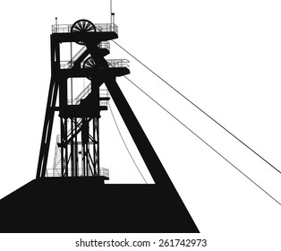 large vector silhouette. A special elevator for raising mineral resources