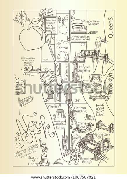 Large Vintage Hand Drawn Illustrated Tourist Stock Vector (Royalty on