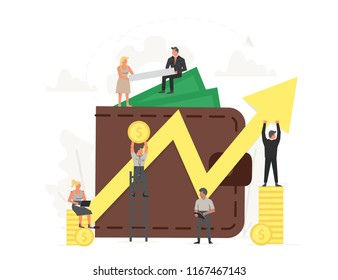 Large wallet with key and yellow arrow success with small working people around it. Investment, saving money business illustration.