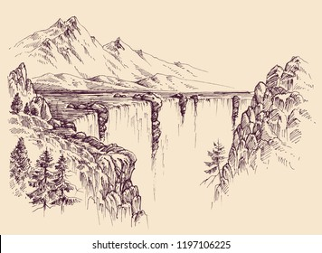 Large waterfall on a river vector sketch