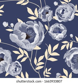 Large white buds and peonies flowers surrounded by cream beige leaves on a indigo blue background. Floral seamless pattern. Vector illustration with plants.