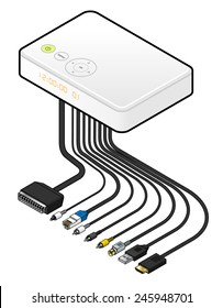 A large white IPTV set top box or integrated receiver decoder with cables and connectors.