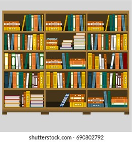 Large wooden bookshelf flat vector