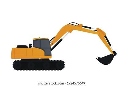 Large yellow excavator. vector illustration.