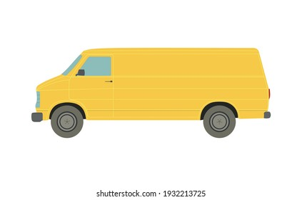 Large yellow van on a white background - Vector illustration