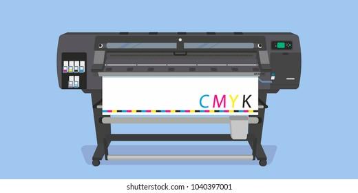 Large-format full-color latex printer plotter flat vector illustration
