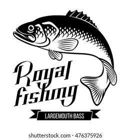 Largemouth Bass. Fish vector illustration. Royal fishing calligraphy