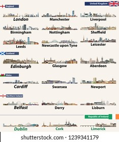 Largest cities skylines of British Isles countries: United Kingdom (England, Wales, Scotland, Northern Ireland) and Republic of Ireland. Vector illustration