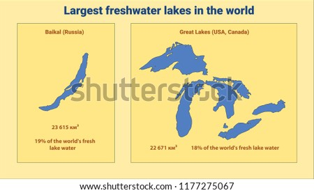 Largest Freshwater Lakes World Baikal Great Stock Vector Royalty