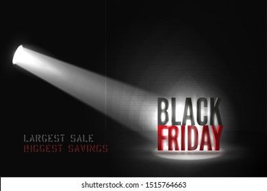 Largest sale vector banner template. Realistic limelight illuminating 3d Black Friday inscription in darkness. Mega price reduction, stencil font discount offer advertising poster design layout