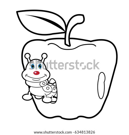 Larva Worm Apple Cartoon Bugs Life Stock Vector Royalty Free