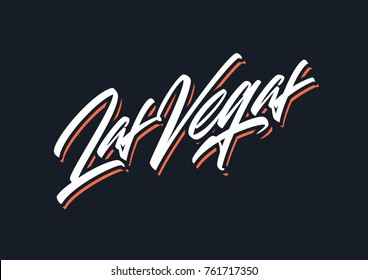 Las Vegas brush lettering vector logo design element