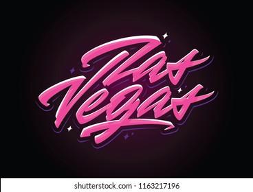 Las Vegas brush vector lettering design element