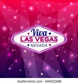 Las Vegas Casino Sign.Casino Neon Billboard Viva Las Vegas Nevada with Diamonds suit,Hearts suit,Spades symbol,Crest symbol in Frame of Light Bulbs on Neon Purple Shining Rays,Neon Stars Background