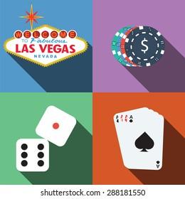 Las Vegas Casino Vector With Long Shadow