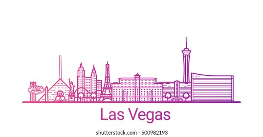 Las Vegas city colored gradient line. All Las Vegas buildings - customizable objects with opacity mask, so you can simple change composition and background fill. Line art.