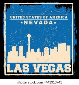 Las Vegas City concept. Logo. Label. T-shirt design. LV. Creative poster design.