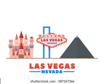 Las Vegas city landmarks. Vector Illustration. Business travel and tourism concept with modern buildings. Image for banner or web site.