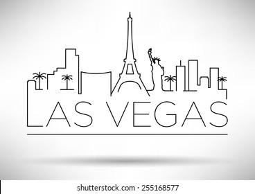 Las Vegas City Line Silhouette Typographic Design