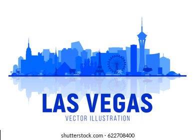 Las Vegas city silhouette skyline on whithe background. Vector Illustration. Business travel and tourism concept with modern buildings. Image for banner or web site