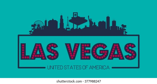 Las Vegas city skyline silhouette USA vector design, greetings card