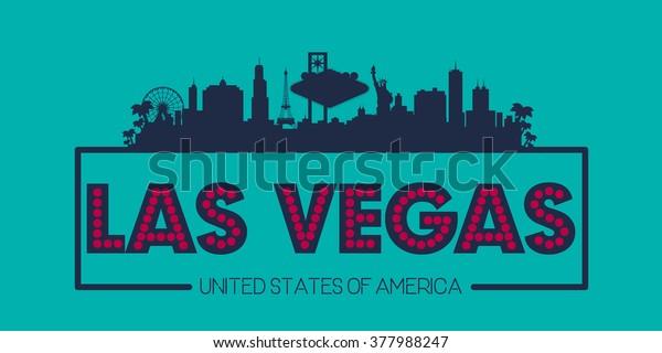 Las Vegas City Skyline Silhuet Usa Lagervektor Royaltyfri 377988247