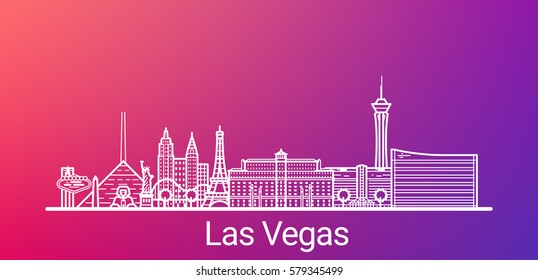 Las Vegas city white line on colorful background. All Las Vegas buildings - customizable objects with opacity mask, so you can simple change composition and background. Line art.