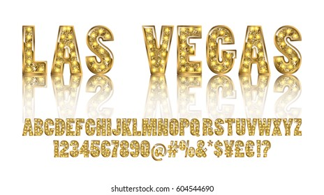 Las Vegas. Color Golden alphabet with show lamps. Vector illustration. You can use it for web-pages and banners, poster, cards and other. Isolated on a white background.