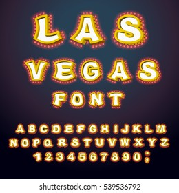 Las Vegas font. Glowing lamp letters. Retro Alphabet with lamps. Vintage show ABC with light bulb. Glittering lights lettering