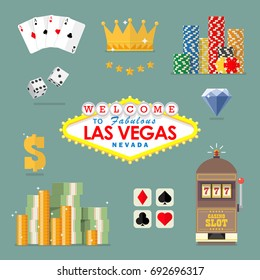 Las vegas icon set. Flat style icon vector illustration