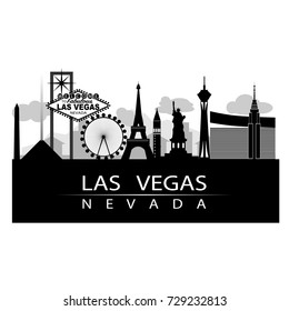 Las Vegas iconic on strip City Silhouette with city in background, Black and white