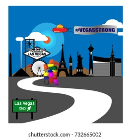 Las Vegas iconic on strip City Silhouette with city with sign Vegas strong hanging with ufo