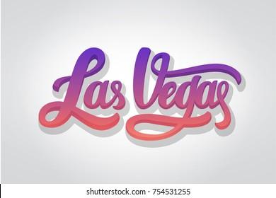 Las Vegas lettering . Ink illustration. Modern brush calligraphy.