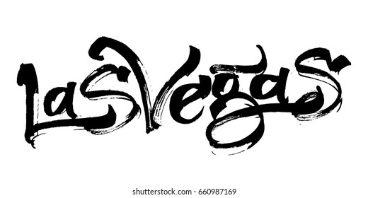 Las Vegas. Modern Calligraphy Hand Lettering for Serigraphy Print.