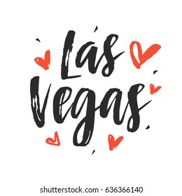 Las Vegas modern city hand written brush lettering, isolated on white background. Ink calligraphy. Tee shirt print, typography postcard, poster design. Vector illustration.