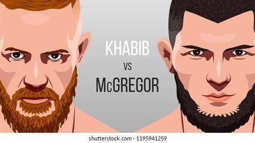Las Vegas, Nevada, October 6, 2018: Battle between Habib Nurmagomedov and Conor McGregor. Poster with fighters