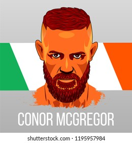 Las Vegas, Nevada, October 6, 2018: Battle between Habib Nurmagomedov and Conor McGregor. Poster with Conor