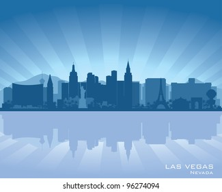 Las Vegas, Nevada skyline illustration with reflection in water