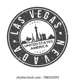 Las Vegas Nevada USA Stamp Logo Icon Symbol Design Skyline City