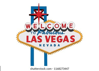 Las Vegas Nevada welcome sign vector illustration isolated on white.