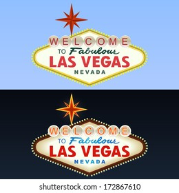Las Vegas Sign. Day and Night. Vector
