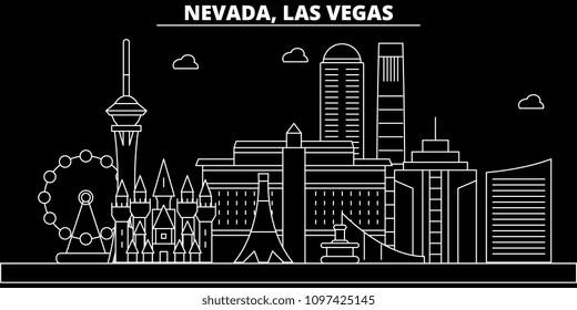 Las Vegas silhouette skyline. USA - Las Vegas vector city, american linear architecture, buildings. Las Vegas travel illustration, outline landmarks. USA flat icon, american line banner