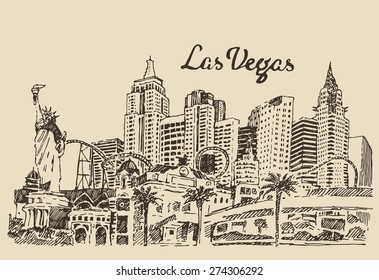 Las Vegas skyline, big city architecture, vintage engraved vector illustration, hand drawn, sketch.