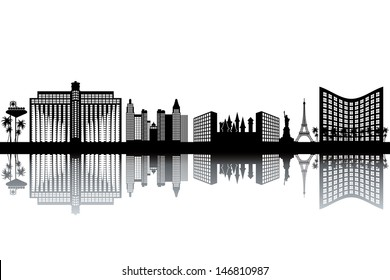 Las Vegas skyline - black and white vector illustration